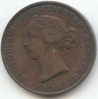 Canada, 1856 Nova Scotia Halfpenny Token, Original VF-XF