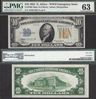 $10 1934 NORTH AFRICA SILVER CERT Fr. 2308 RARE 1934 PLAIN PMG Ch Unc 63