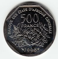 CENTRAL AFRICAN STATES 500 Francs 1998 KM14 Cu-Ni 1yr type TOP GRADE - VERY RARE