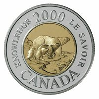 Canada Toonie 2 Dollars Coin Path of Knowledge Female Polar Bear cubs 2000