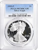 1990 S $1 Proof American Silver Eagle 1oz PCGS PR69DCAM Thomas Cleveland Native