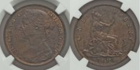 Nicely Toned 1884 Bronze Coin Great Britain One Penny Queen Victoria NGC AU58 BN