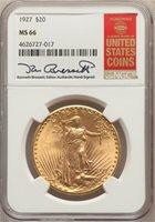 1927 $20 ST. GAUDENS MS66 W/BRESSETT