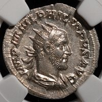AD 244-249 Philip I AR Double Denarius NGC MS, Strike 5/5, Surface 4/5
