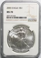 2003 American Silver Eagle NGC MS70