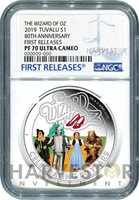 THE WIZARD OF OZ - 80TH ANNIVERSARY - 1 OZ. SILVER COIN - NGC PF70 FIRST RELEASE