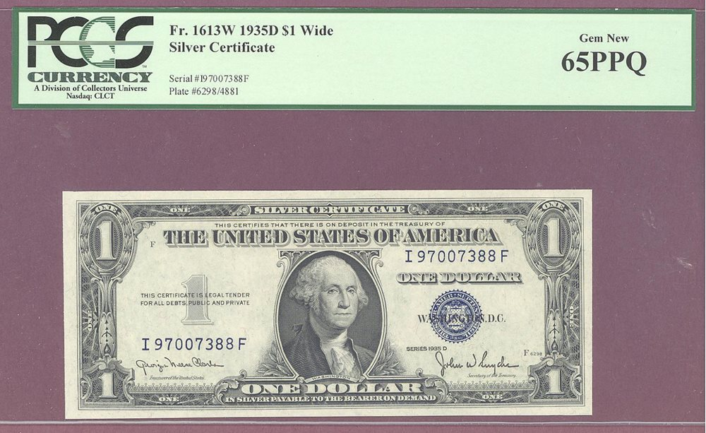 WIDE 1935 D $1 Silver Certificate PCGS 65 PPQ GEM NEW F