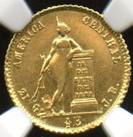 Costa Rica 1851 JB ; Gold 1/2 Esucudo; Ex Mayer; only 3 graded higher; NGC certified AU-58