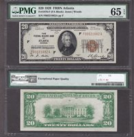 Fr#1870-F $20 1929 F00521682A 65EPQ Better Atlanta only 3 finer (12/18)
