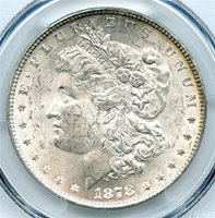 1878 $1 Morgan Silver Dollar, 7 Tail Feathers, Reverse of 1878, PCGS MS-63, Brilliant Uncirculated. Wow! This is great looking white and flashy coin, with a bit of light rim toning. Very attractive Morgan Dollar, and at a great price. Write for higher quality scan or layaway options. Zero problems guaranteed. Free Shipping.