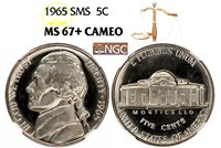 1965 SMS JEFFERSON NGC MS 67 PLUS CAMEO