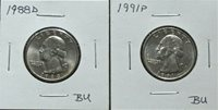 1988D BU & 1991P BU Washington Qts 8J32ISS -MSS