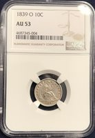 1839 O Seated Dime Repunched mint Mark FS 501 AU 53 NGC
