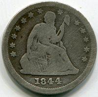 1844 Liberty Seated Quarter VG