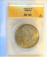 1 TIME AUCTION 1921 D MORGAN DOLLAR VAM 3B VLDS STREAMER WING ONLY 10 KNOWN