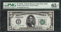 *NUMERIC SEAL* 1928A $5 New York Federal Reserve PMG Gem Uncirculated 65EPQ C2C