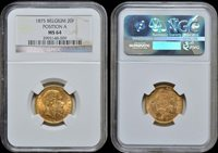 20 Francs Belgium, Leopold Ii 1875 Position A gold Ngc Ms 64