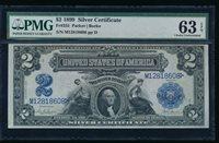 AC Fr 255 1899 $2 Silver Certificate PMG 63 EPQ uncirculated !!!