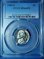 1980-D 5C Full Steps Jefferson Nickel-PCGS MS64FS--425-1