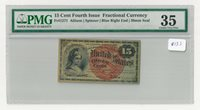 Fr#1271 15¢ 4th Issue Columbia Fractional, Blue Right End, Small Seal, PMG 35