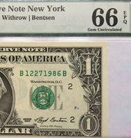 "1993 $1 NEW YORK "" MULE "" FRN, PMG GEM UNCIRCULATED 66 EPQ BANKNOTE, DATE S/N"