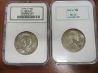 Franklin Silver Half Dollars 1951 and 1962-D!! NGC MS 64!! Lot 177