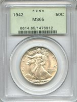 1942 Walking Liberty Half Dollar PCGS MS65 ~ 50c Old Green Holder OGH (1476912)