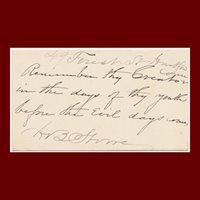 Harriet Beecher Stowe, Autograph Note, Signed