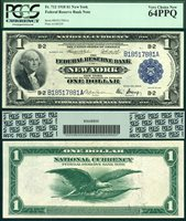 US Currency 1918 $1 Federal Reserve Bank Note S/N B18517881A