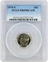 1975-S Roosevelt PROOF Dime, Graded PR69DCAM by PCGS