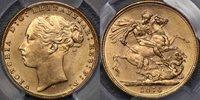 1876 Melbourne St George Reverse Sovereign - PCGS MS63 1876 Melbourne St George Reverse Sovereign