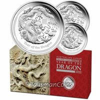 Australia 2012 Year Dragon Lunar 3-Coin $1 Pure Silver Proof Set in FULL OGP