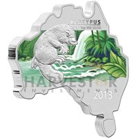 2013 AUSTRALIAN MAP SHAPED COIN - PLATYPUS - SILVER PROOF - ONLY 6000 - OGP/COA