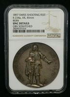 Switzerland 1897 Silver 45mm Bern Shooting Festival Medal R-234a NGC Unc Details
