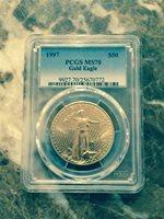 1997 $50 gold eagle pcgs ms70