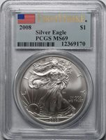 2008 $1 American Silver Eagle PCGS MS69 First Strike