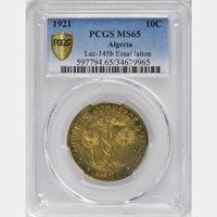 1921 Algeria Brass Essai 10 Centimes, PCGS MS 65, KM-TnA8, Finest Known, Scarce