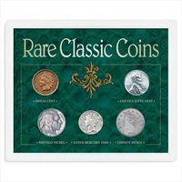 5 US Rare Classic Coins Pennies, Nickels & Dime + Sealed Acrylic Case Collector