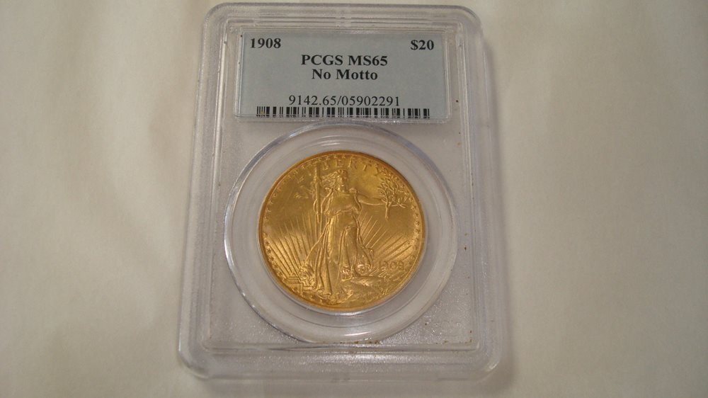 US Gold $20 Saint-Gaudens Double Eagle PCGS MS65-1908 No Motto