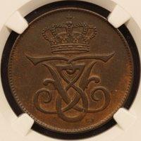Denmark 5 Ore 1908 Bronze NGC AU 55 BN