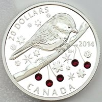 Canada 2014 $20 Chickadee with Swarovski Winter Berry Elements 1 oz. Pure Silver