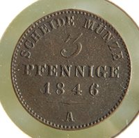 German States Schwarzburg Sonderhausen 1846-A 3 Pfennig ↑ Grade Coin! KM # 143