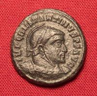 Ancient Roman Bronze Constantinus AE3 Coin, Helmeted Emperor!