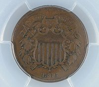1866 2C Two Cent PCGS XF 40 MS BN