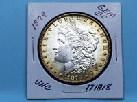 1879 1879-P MORGAN SILVER DOLLAR GEM BU FROSTY WHITE TONE RIM #171818-82Y