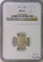 1911 Barber Dime NGC MS-63; Nice Type Coin!