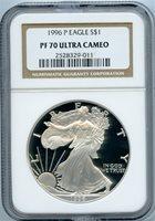 1996-P $1 silver eagle ngc pf70