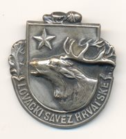 Yugoslavia CROATIAN HUNTING UNION and their official badge from 1970s