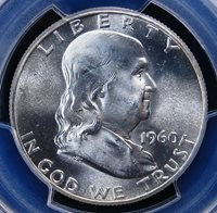1960 FRANKLIN PCGS MS65 BLAST WHITE FULL STRIKE NOT NOTED BUT EXHIBITS DIE CLASH