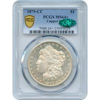 1879-CC $1 Morgan Silver Dollar, Capped Die PCGS MS64+ (CAC)